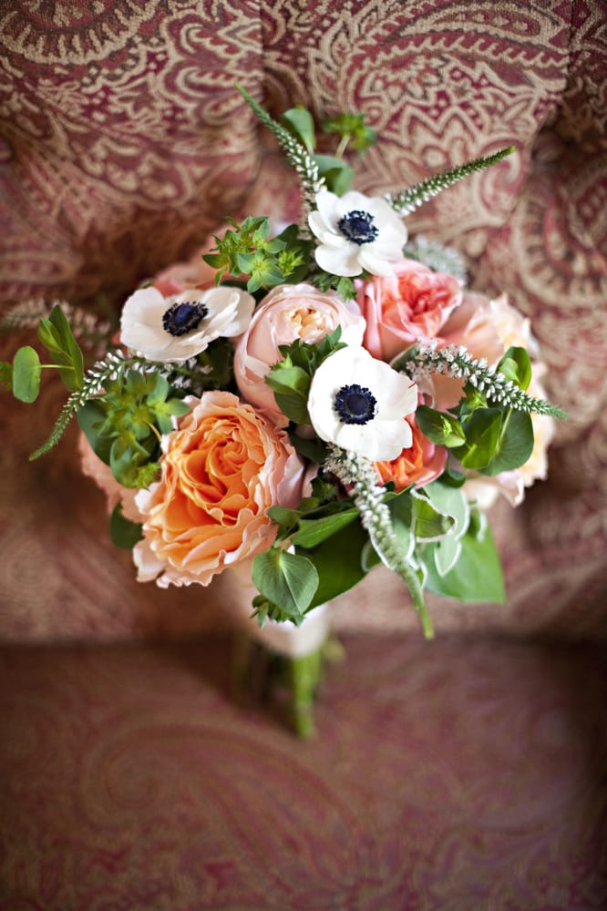 Nashville Garden Wedding Venue CJ's Off the Square Peach Bridal Bouquet