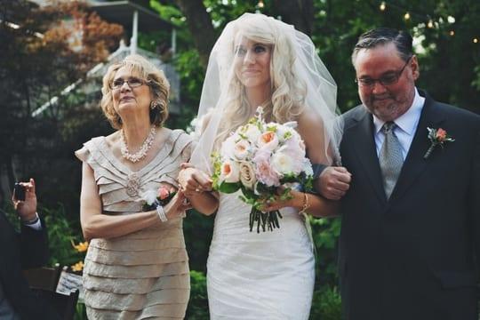 Bride down the Aisle, Summer Garden Wedding at CJ's Off the Square Nashville