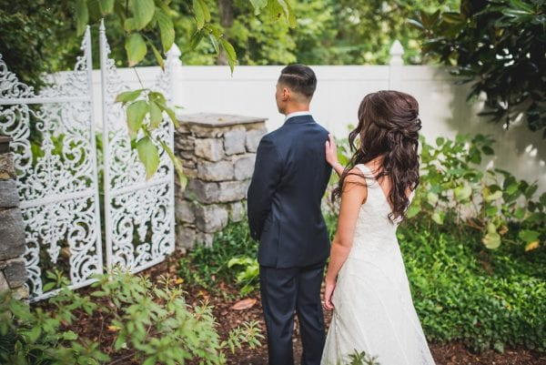 Rachel and Douglas Blue Fall Garden Wedding by John Myers at CJs Off the Square in Nashville TN