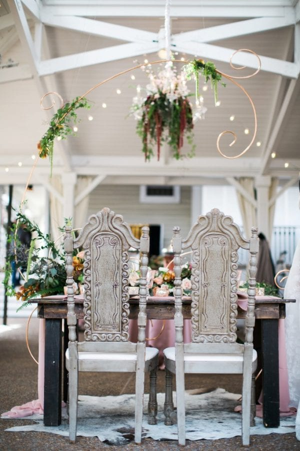 These vintage Constance Chairs from Southern Events were the perfect accent for this boho chic sweetheart table at CJ's Off the Square