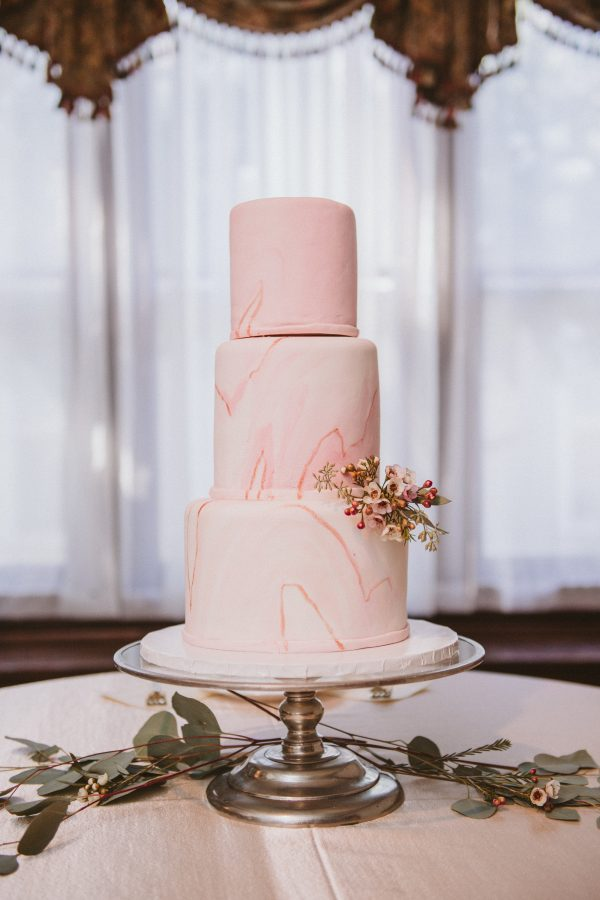 Pink Marble Wedding Cake by Wolfe Gourmet Cakes