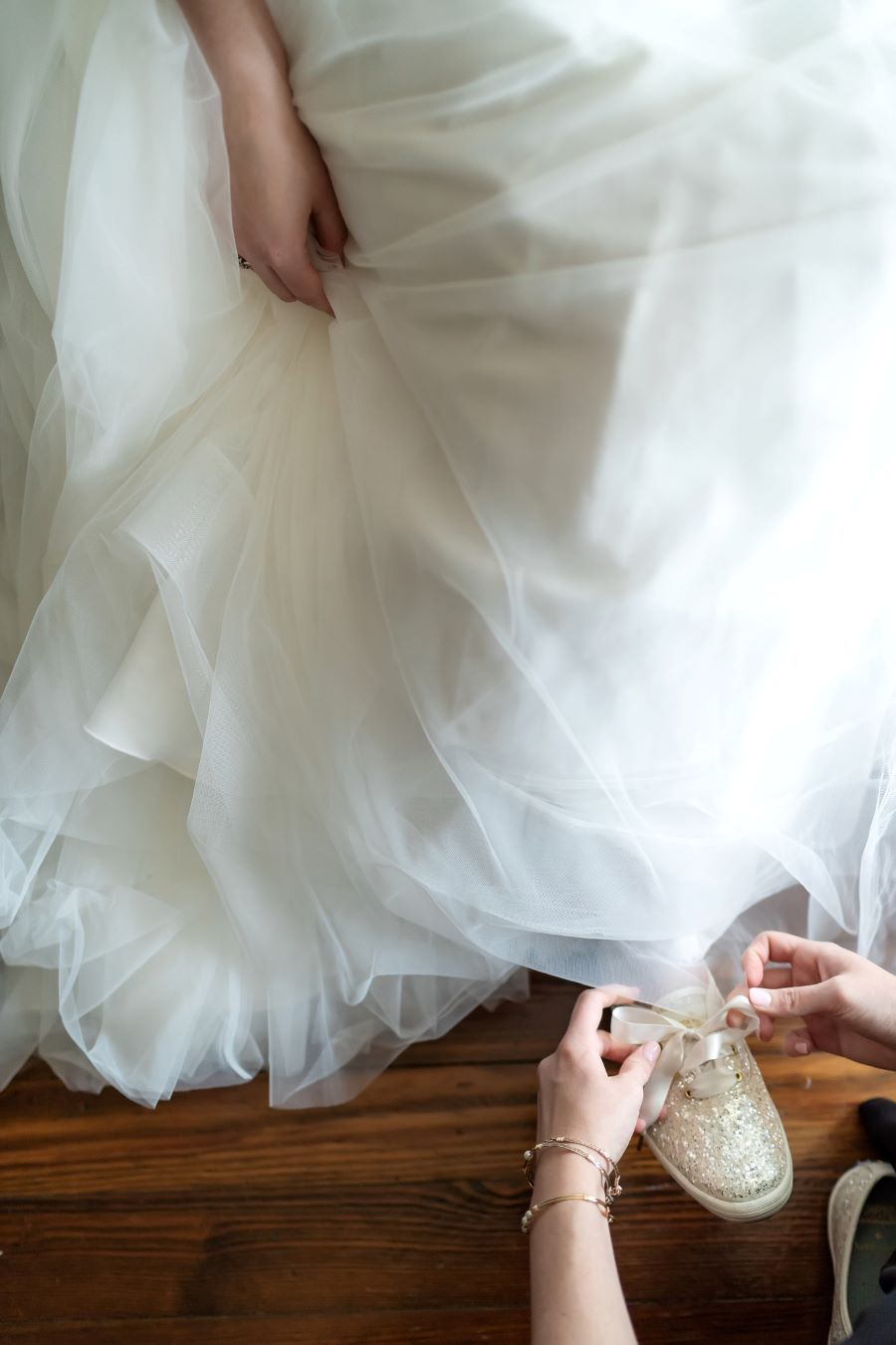 Bride wearing glitter sneakers on wedding day / Traditional / fun / Spring / May / Baby Blue / Blush / Black